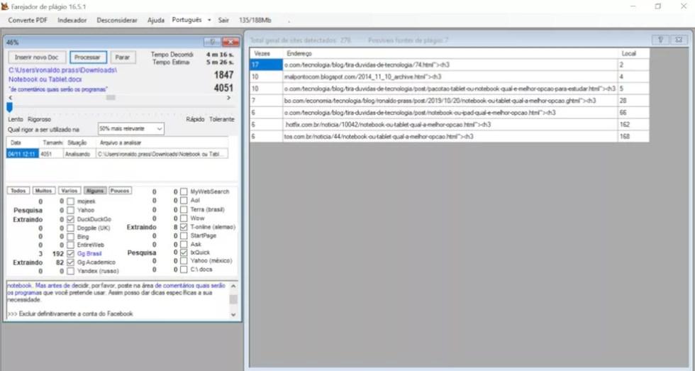 Programa Farejador de Plágio permite fazer buscas por textos em toda a web. — Foto: Reprodução