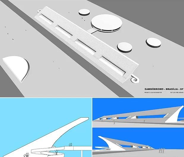 Projeto de Niemeyer para samb[odromo de Brasília (Foto: TV Globo/ Reprodução)