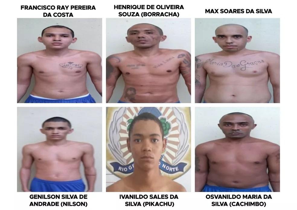 Presos que fugiram de Alcaçuz — Foto: Divulgação/Seap