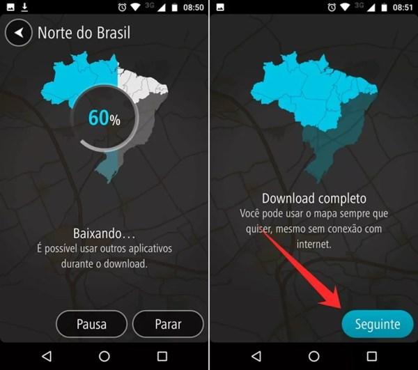 Fazendo o download de mapas no TomTom Go Brasil (Foto: Reprodução/Felipe Alencar )