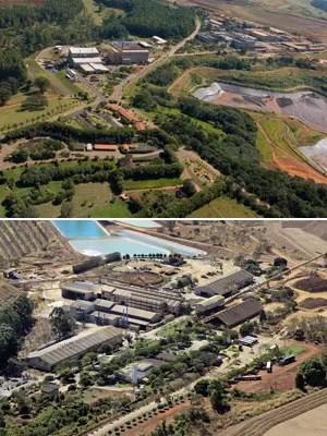 Vista aérea das instalações da CBMM, em Araxá, e da Anglo, em Catalão (Foto: Divulgação )