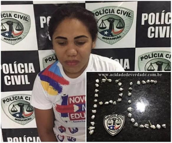Lucimara Sousa de Pinho Oliveira foi presa por suspeita de venda de drogas em escola em Santa Luzia do Paruá  — Foto: Divulgação/Polícia Civil