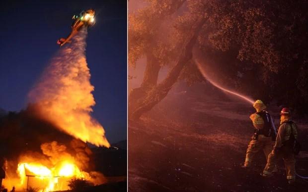 Com helicóptero despejando água e com pessoal no chão com mangueiras, bombeiros combatem as chamas de um incêndio florestal em Banning, na Califórnia (Foto: Gene Blevins/Reuters e David McNew/Reuters)