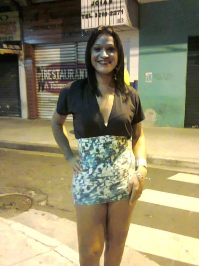 Imagem dos tempos em que Katia fazia programas nas ruas do Centro de Santos. — Foto: Arquivo Pessoal