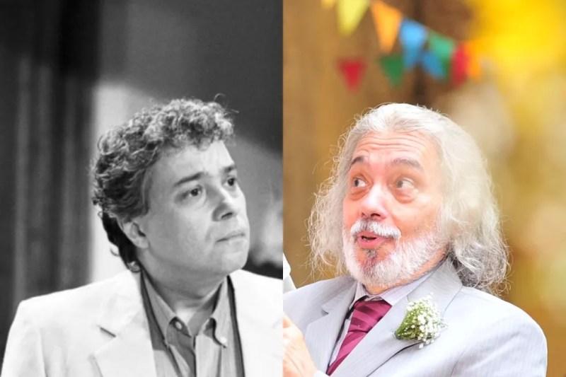 Pedro Paulo Rangel em 'Vale Tudo', de 1988 (à esquerda) e 'Amor Eterno Amor', de 2012 (à direita) — Foto: Acervo TV Globo   João Miguel Junior/Globo