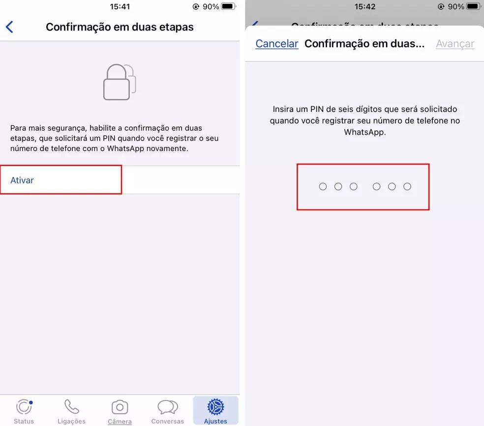 Selecionando ativar e escolhendo o PIN de seis dígitos para confirmar a ativação do WhatsApp — Foto: Reprodução/Rodrigo Fernandes