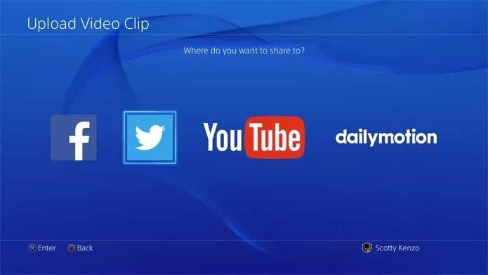 Novo sistema do PS4 permite enviar clipes para o Twitter (Foto: Divulgação/Sony)