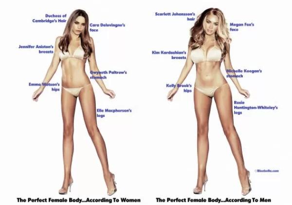 Montagem mostra as partes dos corpos das famosas que formariam um corpo ideal (Foto: Reprodução)
