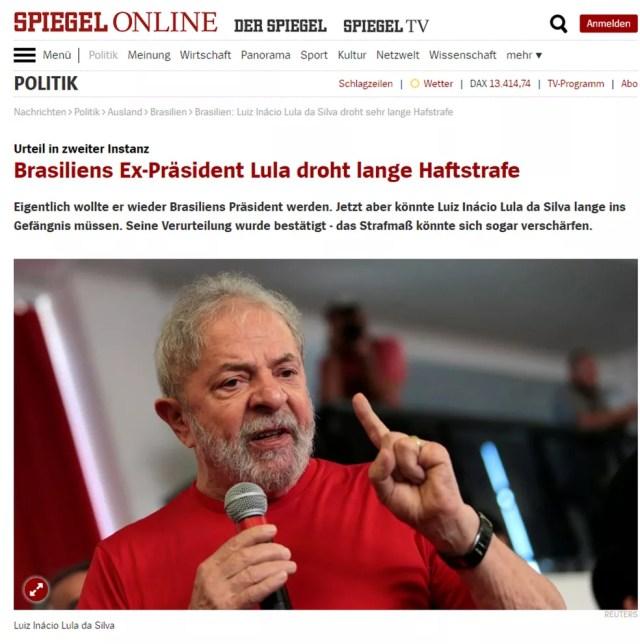 Revista alemã 'Der Spiegel' noticia a condenação de Lula em 2ª instância (Foto: Reprodução/ Der Spiegel)