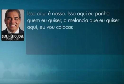 Senador Hélio José diz, em gravação, que pode indicar 'a melancia que quiser' para cargo (Foto: TV Globo/Reprodução)