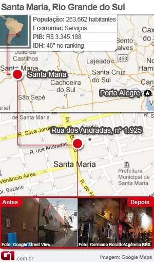 mapa_santa_maria_boate (Foto: Editoria de Arte / G1)