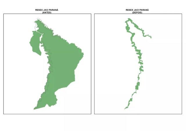 Resex de Jaci-Paraná antes e depois da aprovação da Lei 1.089/21 — Foto: Ministério Público de Rondônia/Divulgação