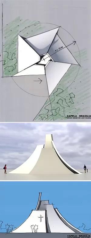Projeto de capela idealizada por Niemeyer para o Morro da Capelinha, em Planaltina (Foto: Divulgação)