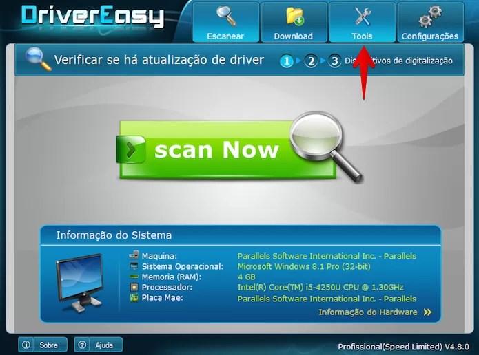 Abra o Driver Easy e acesse as ferramentas do programa (Foto: Reprodução/Helito Bijora)