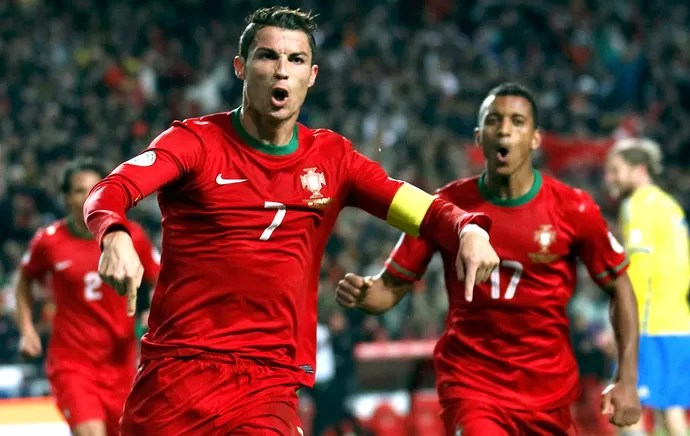 Cristiano Ronaldo comemora gol de Portugal contra a Suécia (Foto: Agência Reuters)