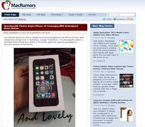 Site 'MacRumors' publicou suposta caixa do novo iPhone (Foto: Reprodução/Macrumors)