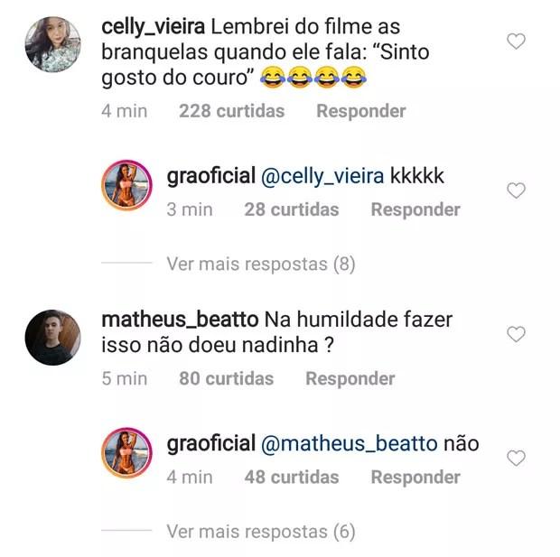 Gracyanne Barbosa responde fãs (Foto: Reprodução)