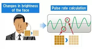 Protótipo de aplicativo identifica mudança na cor do rosto para identificar pulsação. (Foto: Reprodução/Fujitsu)