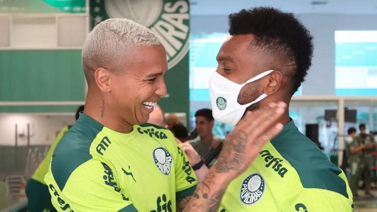 Deyverson e Borja na Academia do Palmeiras — Foto: Cesar Greco / Ag. Palmeiras