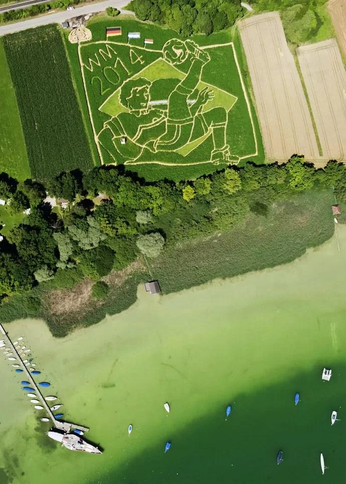 Plantação na Alemanha homenageia título com desenho de 18 mil metros quadrados (2/2)
