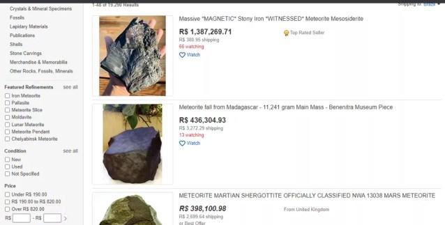 Venda de meteoros pela internet — Foto: Reprodução