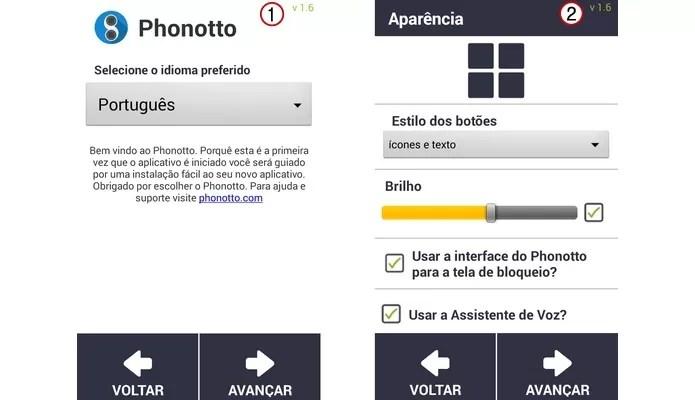 Primeiras telas de configuração do Phonotto (Foto: Reprodução/ Raquel Freire)