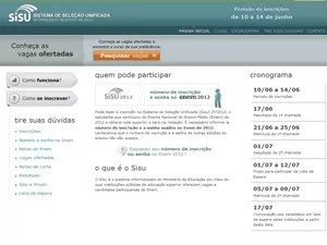 Site do Sisu (Foto: Reprodução )