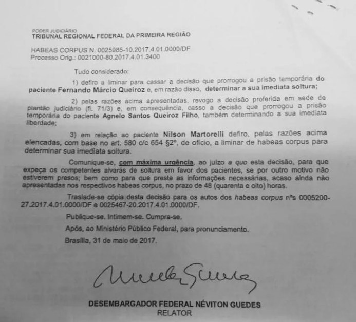 Trecho da decisão que libera o ex-governador Agnelo Queiroz (Foto: Reprodução)
