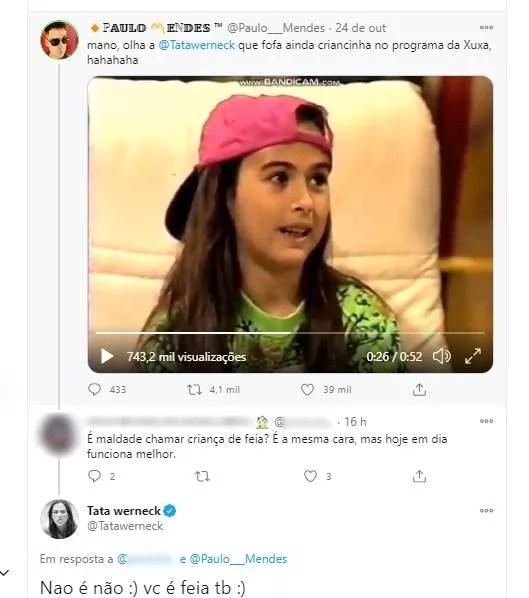 Tata Werneck responde a seguidor (Foto: Reprodução/Twitter)
