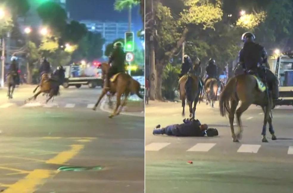PM caiu do cavalo no entorno do Maracanã e precisou ser socorrido (Foto: Robson Coutinho/Reprodução/GloboNews)