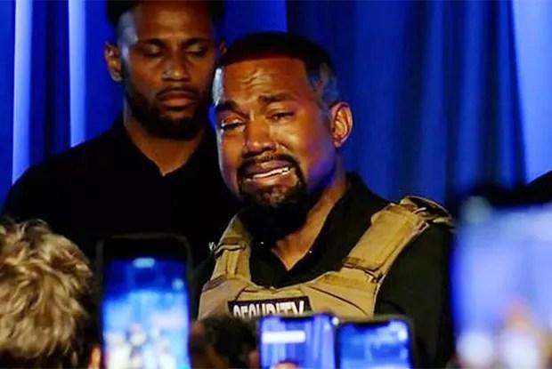 Kanye West chora ao falar sobre aborto em evento nos EUA (Foto: Reprodução)