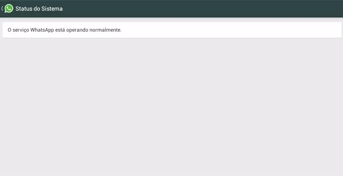 WhatsApp exibe mensagem de status do serviço para indicar se aplicativo está ou não fora do ar (Foto: Reprodução/Elson de Souza)