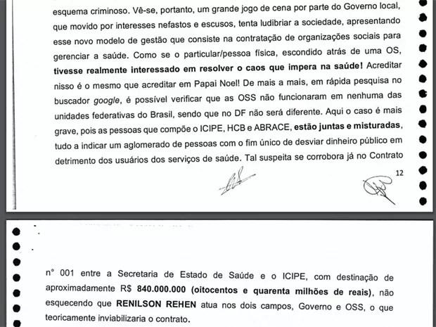 Trecho de relatório preliminar da CPI da Saúde diz que GDF tenta ludibriar sociedade ao divulgar modelo da gestão das OSs na saúde (Foto: Reprodução)
