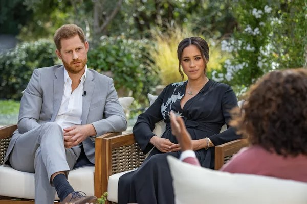 Actress Meghan Markle and Prince Harry being interviewed by host Oprah Winfrey (Photo: Harpo Productions/Joe Pugliese)