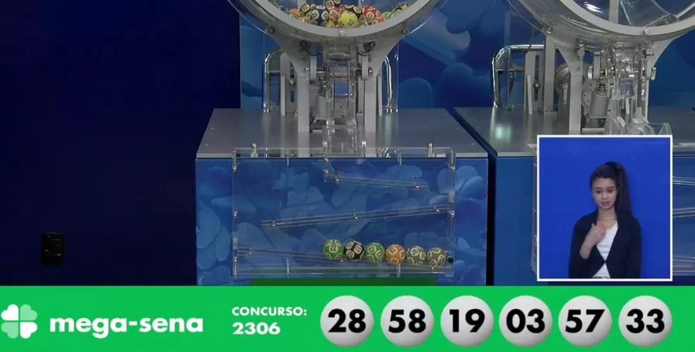 Dezenas sorteadas da Mega-Sena, concurso 2306 — Foto: Reprodução/Caixa