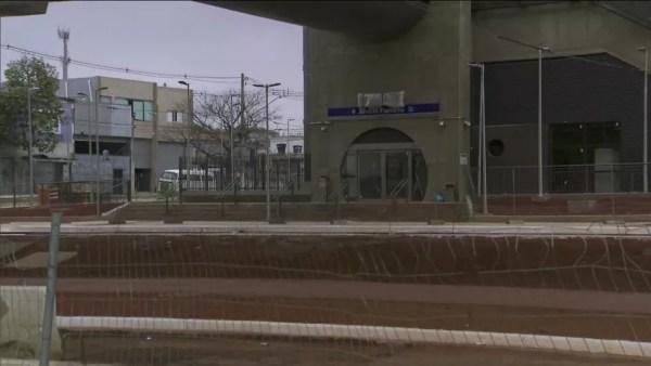 Obras de estações do Monotrilho estão paradas — Foto: TV Globo/reprodução