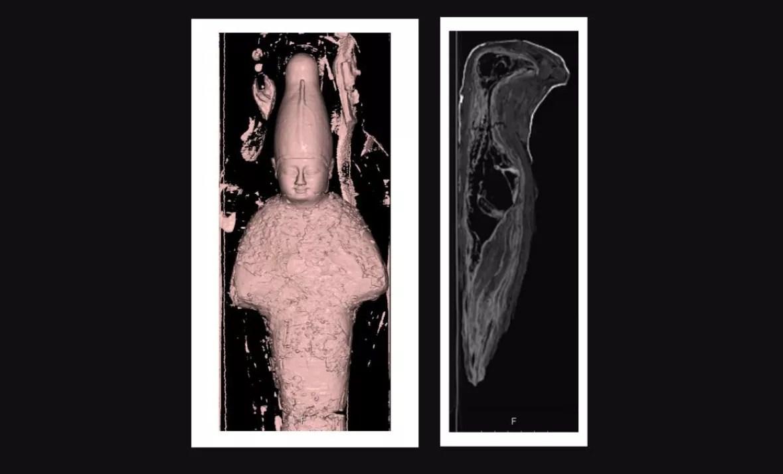 Tomografias revelaram que uma das múmias era, na verdade, um objeto feito de argila e grãos; já a outra era o cadáver de uma ave (Foto: Rambam Health Care Campus)