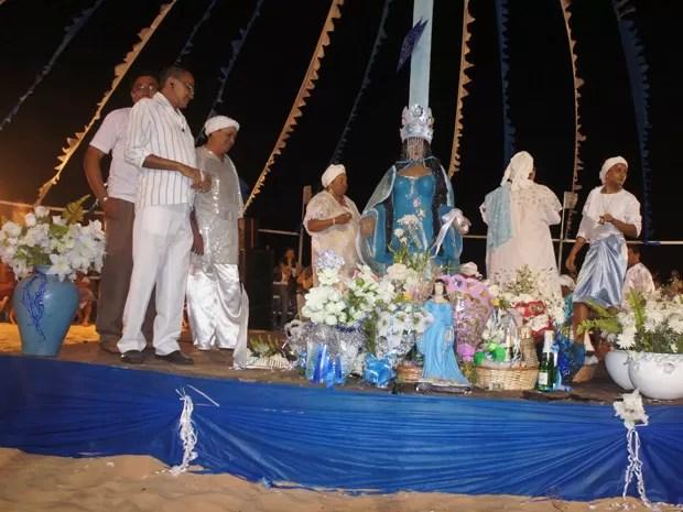 O templo de Iemanjá foi construído com material reciclável, segundo a Federação dos Cultos Afro-brasileiros (Foto: Jorge Machado/G1)