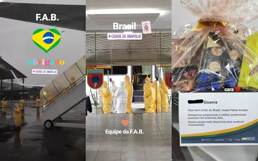 Brasileiro repatriado agradece acolhida em quarentena em Anápolis — Foto: Reprodução/Instagram