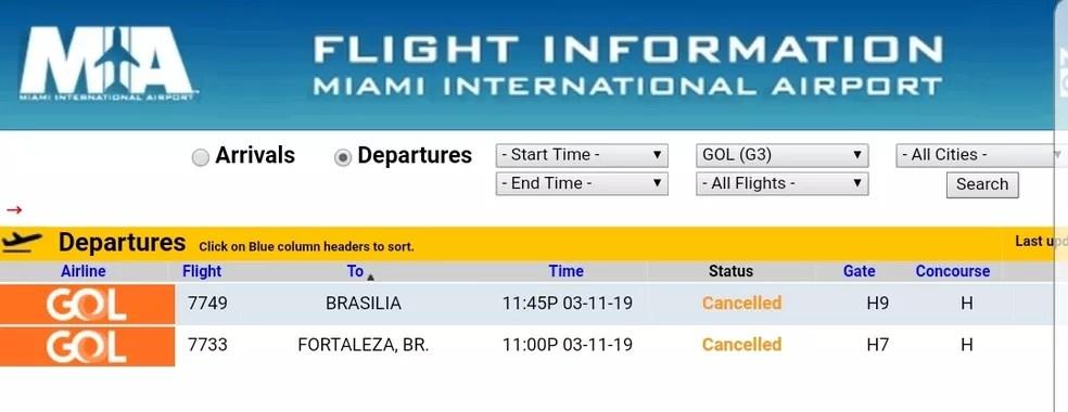 Voos do modelo 737 MAX 8 cancelados em Miami — Foto: Reprodução
