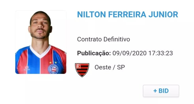 Nilton é registrado no BID e reforça o Oeste pela Série B do Campeonato Brasileiro — Foto: Reprodução/CBF