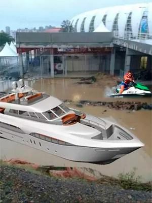 Alagamento no Beira-Rio vira piada nas redes sociais (Foto: Reprodução/Facebook)
