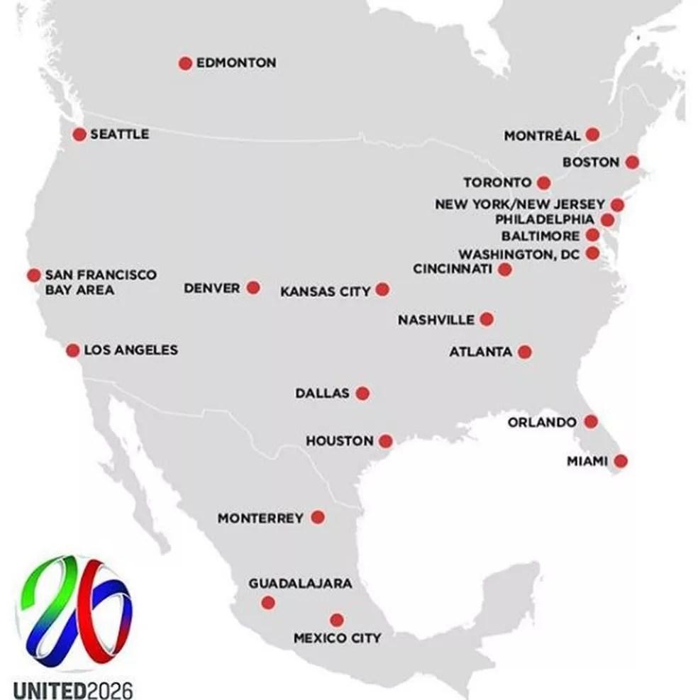 Opções de sedes apresentadas pela candidatura da América do Norte (Foto: Reprodução / Instagram)