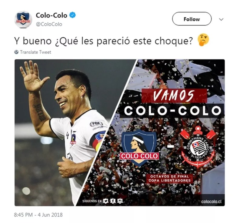 Colo Colo trocou o escudo do Corinthians em postagem no Twitter (Foto: Reprodução)