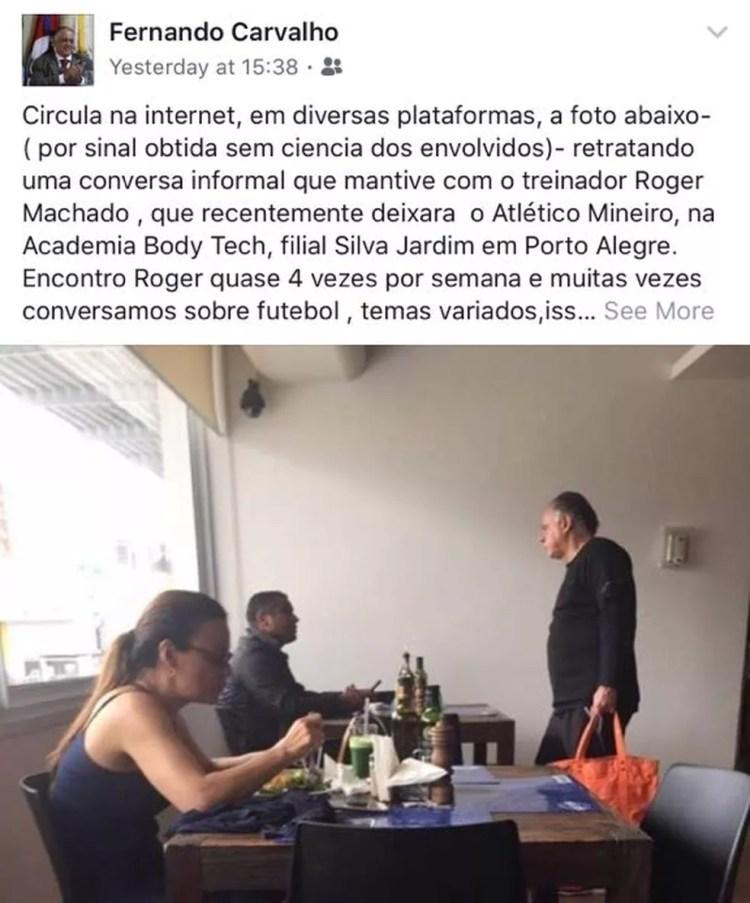 Fernando Carvalho fala sobre encontro com Roger Machado (Foto: Reprodução/Facebook)