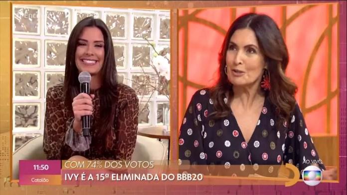 Ivy conversa com Fátima Bernardes após eliminação do 'BBB20' — Foto: TV Globo