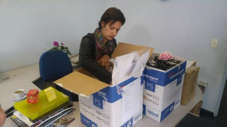 Jaqueline Coutinho voltou pra gabinete no Paço Municipal de Sorocaba (Foto: Jomar Bellini/TV TEM )