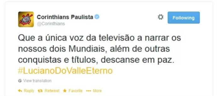 Corinthians lamenta morte do narrador Luciano do Valle (Foto: reprodução)
