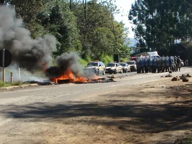 Rodovias foram liberadas por caminhoneiros em Santa Catarina (Foto: Divulgação/PRF)