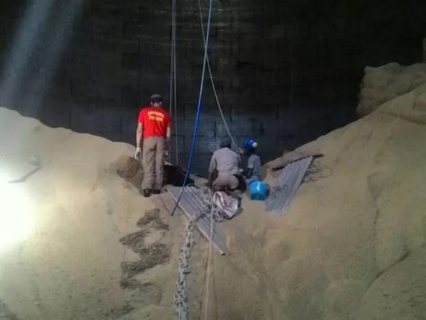 Bombeiros usaram equipamento de tração para retirar a vítima (Foto: Bombeiros/Divulgação)